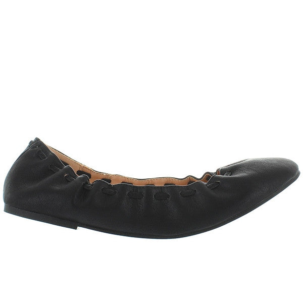 Wanted Genesis - Black Elasticized Ballet Flat