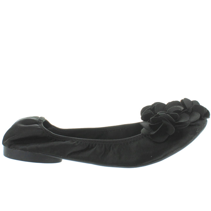 Wanted Punk - Black Satin Flower Elasticized Ballet Flat