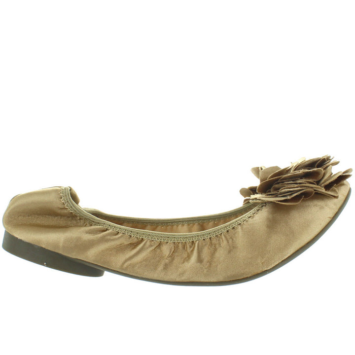 Wanted Punk - Gold Satin Flower Elasticized Ballet Flat