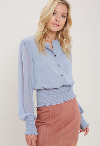 Kixters - Misty Blue Woven Top
