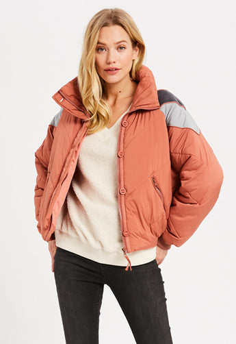 Kixters - Brick Pink Color Block Quilted Down Puffer Jacket