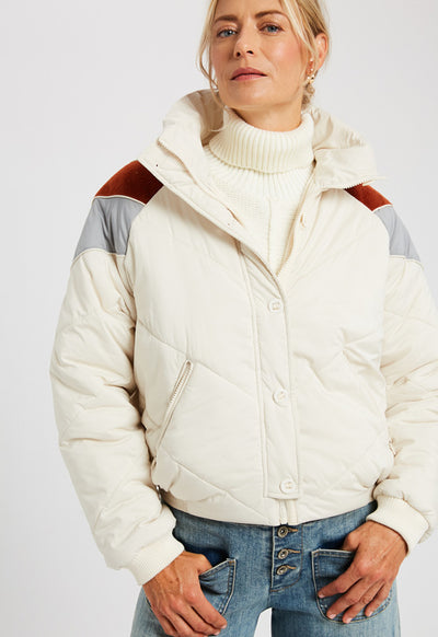 Kixters - Natural Color Block Quilted Down Puffer Jacket