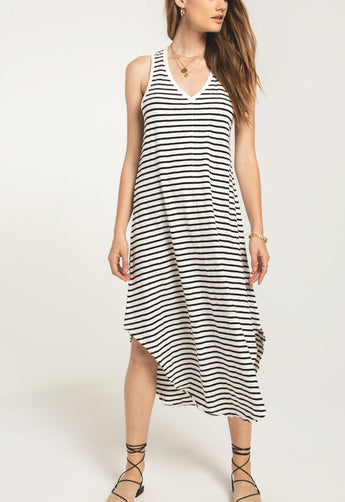 Z Supply - The Reverie Black/Desert White Stripe Midi Dress