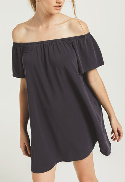 Z Supply - The Washed Black Off Shoulder Layla Jersey Mini Dress