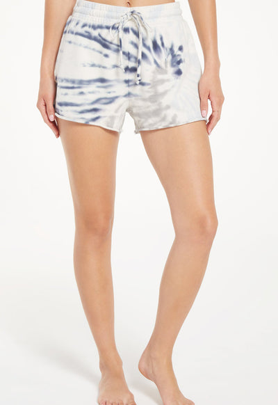 Z Supply - The Dee Grey/Indigo Multi Tie Dye Shorts
