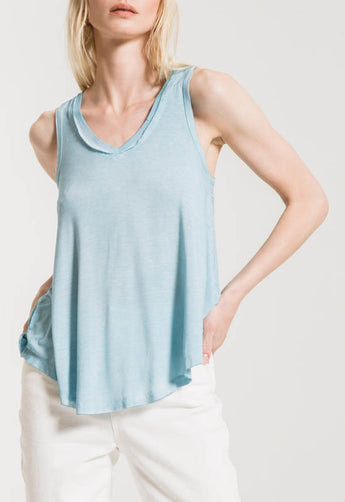 Z Supply - Sand Washed Blue Vagabond V Neck Sleeveless Top