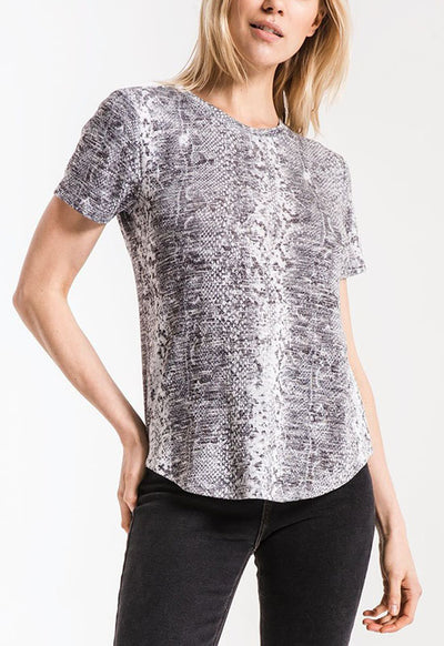 Z Supply - Grey Multi Snakeskin Print Ultimate Crew Neck Top