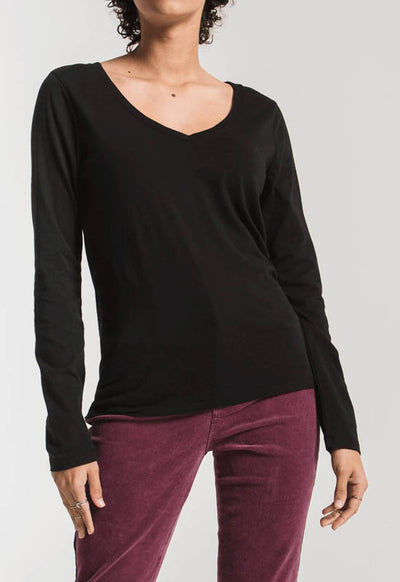 Z Supply - The Perfect Long Sleeve V Neck Black Tee