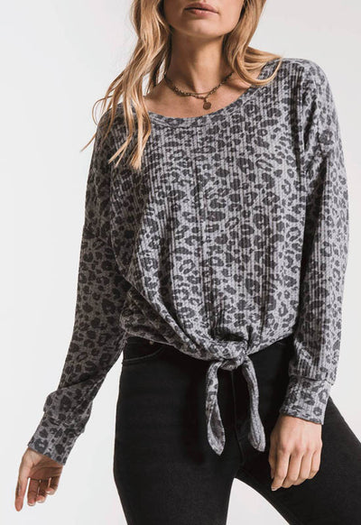 Z Supply - The Heather Grey Leopard Tie Front Thermal Top