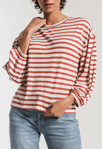 Z Supply - The Canyon Peasant Coral Multi Stripe Long Sleeve Tee