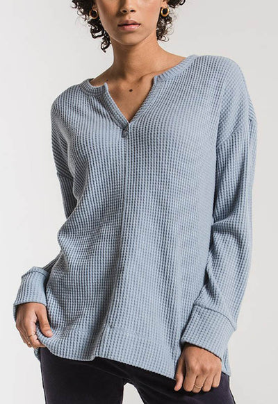 Z Supply - The Azure Blue Waffle Thermal Split Neck Top