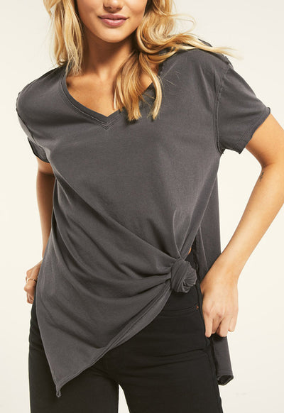 Z Supply - Washed Grey Wag The Organic Cotton Side Slit Tee Shirt