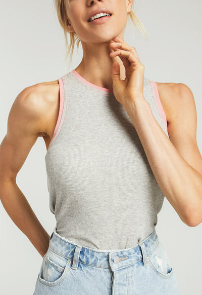 Z Supply - The Celia Heather Grey Rib Tank Top