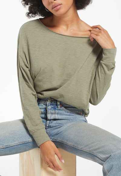Z Supply - Naiser Slub Long Sleeve Top Meadow Green