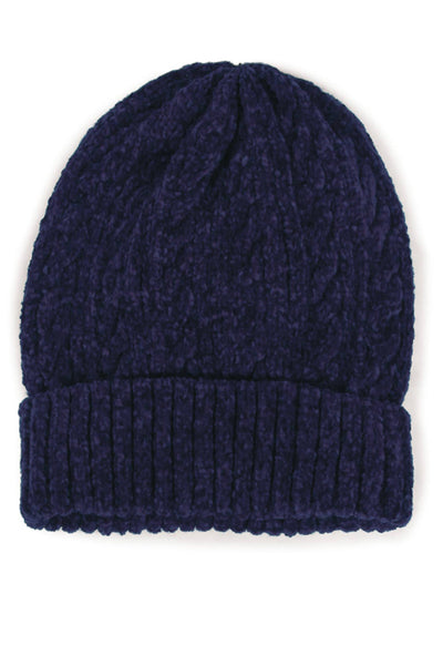 Navy Cable Knit Chenille Beanie