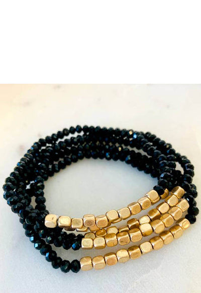 Kixters - Gold/Black Beaded 5 Strand Layered Bracelet