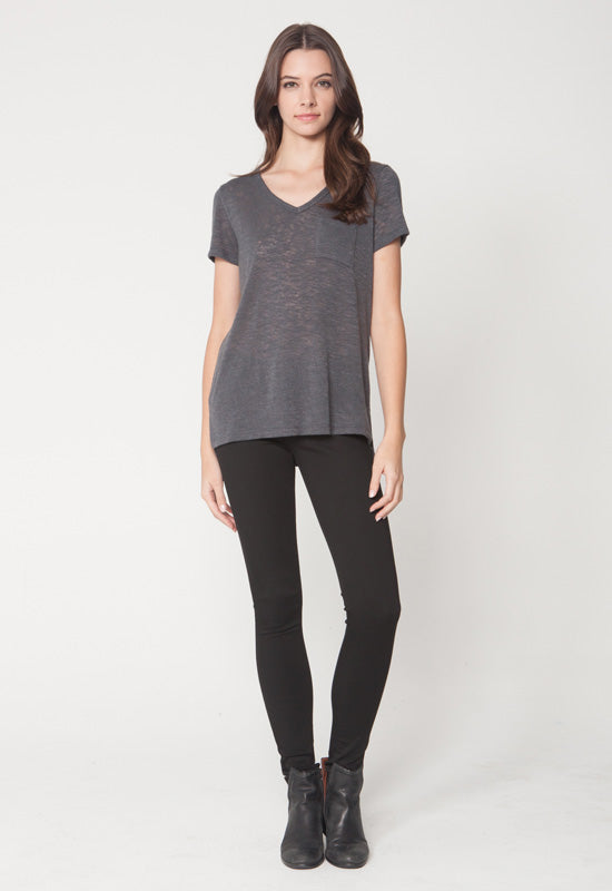 Kixters - Charcoal Melrose Short Sleeve V Neck Top