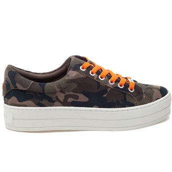 J Slides Hippie - Green/Brown/Orange Camo Multi Platform Sneaker