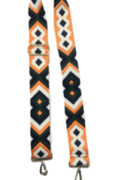 Ahdorned - Navy Orange Aztec Bag Straps