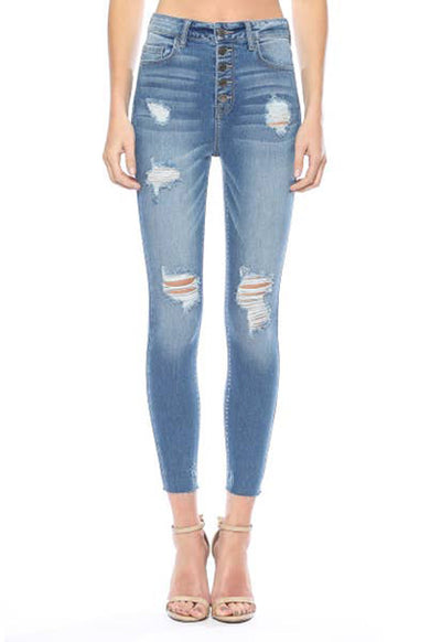 Cello Jeans - Medium Blue Denim 5 Button Hi Rise Distressed Skinny Jeans