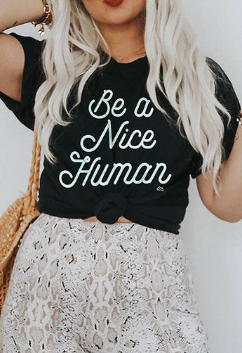 Alley & Rae - Be A Nice Human Black Tee Shirt