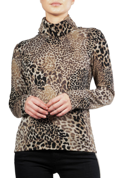 Elan - Grey Multi Leopard Print Turtle Neck Top