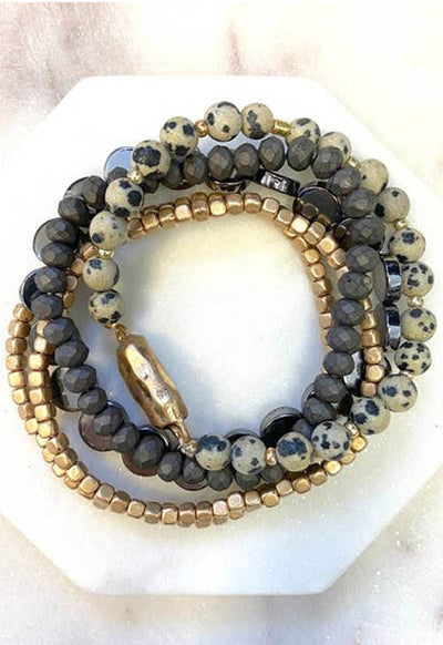 Kixters - Natural Jasper Stone/Metal/Bead Layered Wrap Bracelet