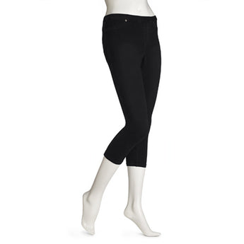 Hue Skinny Jeanz- Black Denim Capri Legging