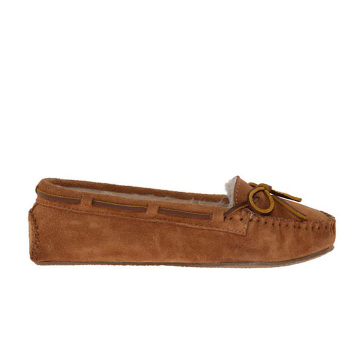 Minnetonka Cally - Cinnamon Suede Fur-Lined Moccasin Slipper