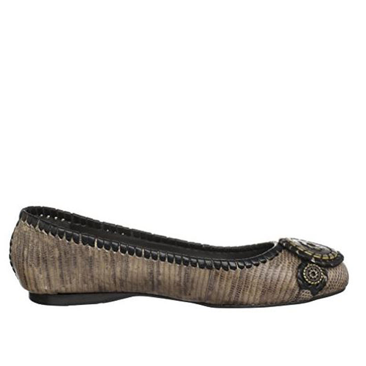 Jack Rogers Dakota Coin Flat - Camel Lizard Leather