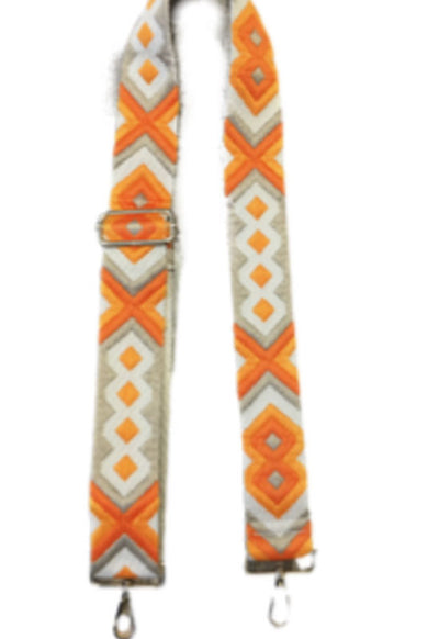 Ahdorned - Cream Orange Aztec Bag Straps