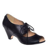 Chelsea Crew Julia - Black Lace-Up Peep Toe Oxford Pump