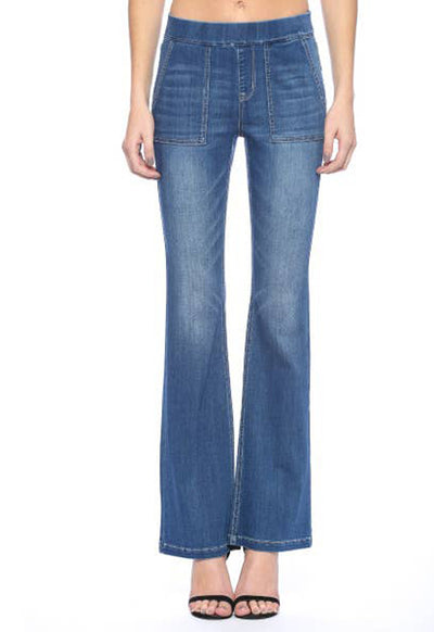 Cello Jeans - Medium Blue Denim Mid Rise Pull-On Flare Jeans