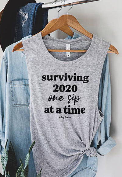 Alley & Rae - Surviving 2020 Grey Muscle Tee Shirt