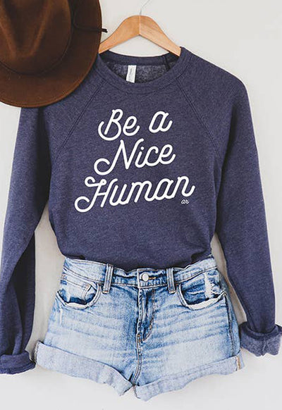 Alley & Rae - Be A Nice Human Navy Sweatshirt