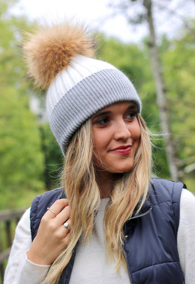 Angora Fur Pom Beanie - Two Tone White Grey