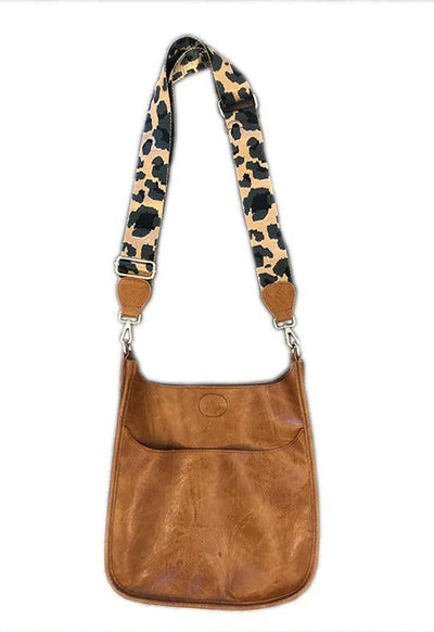 Ah-Dorned - Camel/Leopard Strap Large Vegan Messenger Shoulder Bag