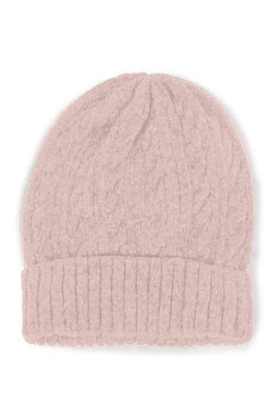 Pink Cable Knit Chenille Beanie