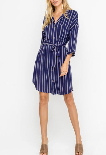 Lush - Indigo/Off White Button Down Stripe Tied Shirt Dress