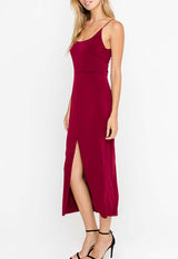 Lush - Vivid Burgundy High Front Slit Midi Slip Dress