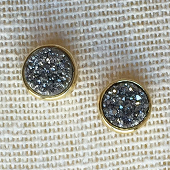 Kixters - Grey Iridescent Druzy Stud Earrings