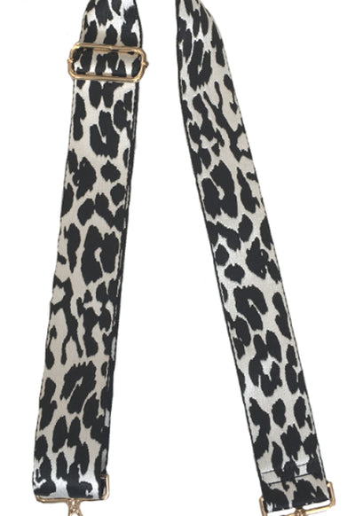 Ahdorned - Black White Leopard Animal Print Bag Straps