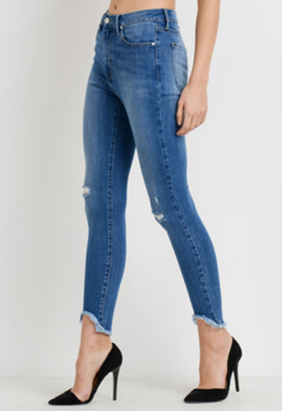 Just Black - Medium Blue High Rise Skinny Jeans W/ Hi/Lo Hem