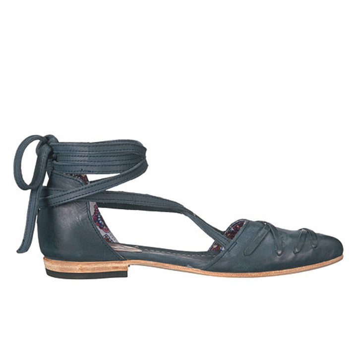 Freebird Eryn - Blue Distressed Ankle Strap Ballet Flat