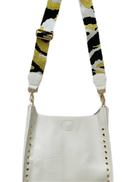Adhorned - Vegan Messenger White with Gold Studs with Strap Shown