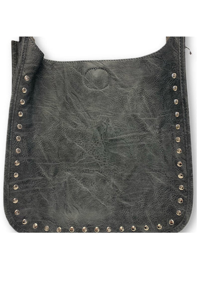 Ahdorned - Classic Messenger Grey With Silver Studs (sold without straps)