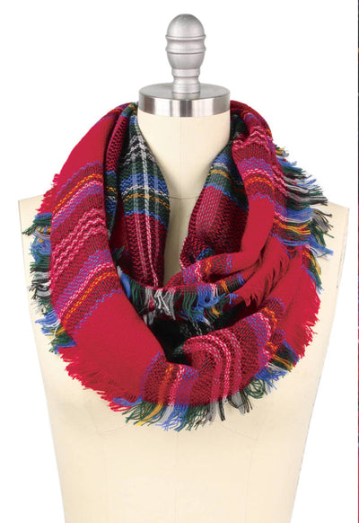 Multi & Red Plaid Infinity Scarf