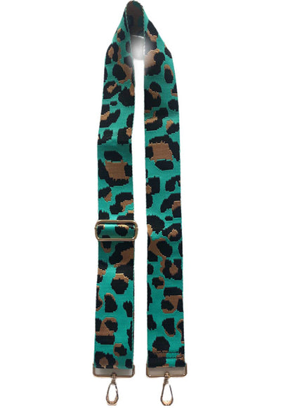 Ah-Dorned - Aqua/Black Leopard Print Bag Strap