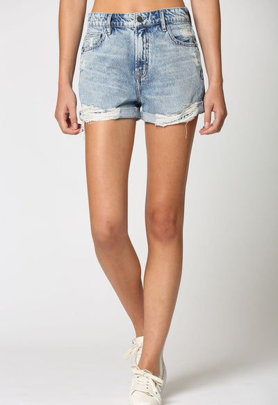Hidden Jeans - Vintage Washed Destructed Cuffed Boyfriend Shorts