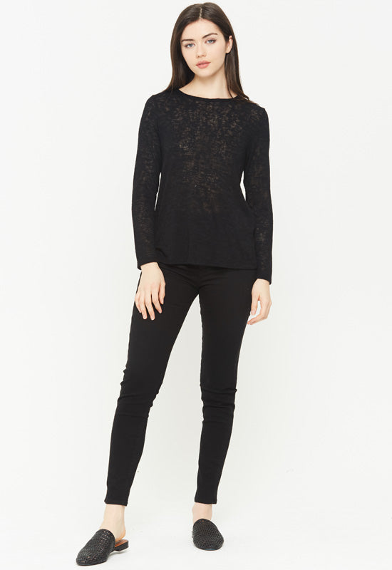 Kixters - Black Melrose Long Sleeve Crew Neck Top